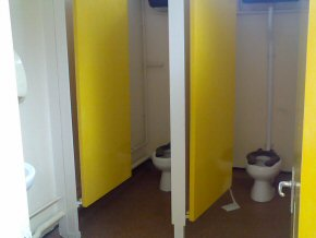 Newly painted school toilets